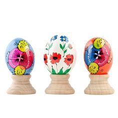 Set of 3 Petals Flower Wooden Pysanky Easter Eggs with Stands - Fill your Easter basket with 3 colorful hand painted petals wooden eggs. Historically, one of the most popular Easter gifts was a hand painted in various patterns Easter egg.