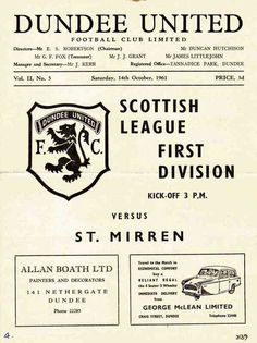 Dundee Utd 3 St Mirren 1 in Oct 1961 at Tannadice. Programme cover #ScotDiv1