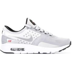 Nike Air Max Zero QS sneakers ($212) ❤ liked on Polyvore featuring men's fashion, men's shoes, men's sneakers, grey, mens grey shoes, mens perforated shoes, nike mens shoes, mens gray dress shoes and mens lace up shoes
