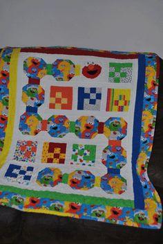 Big Bird, Cookie Monster and Elmo Panel Quilt. $36.00, via Etsy ... : elmo quilt - Adamdwight.com