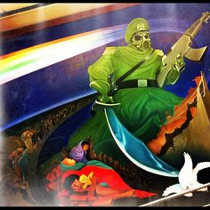 Some disturbing images in the murals, on the walls of Denver International Airport  Denver, CO