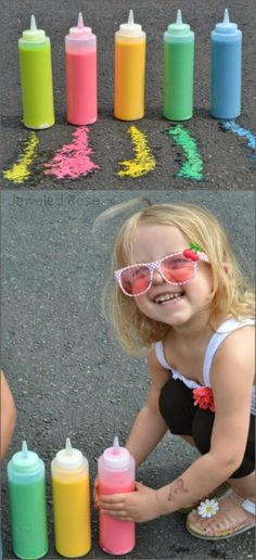 Sidewalk Squirty Paint - this stuff is so fun it kept my kids playing for a whole afternoon! {Only 3 ingredients!} Sidewalk Squirty Paint - this stuff is so fun it kept my kids playing for a whole afternoon! {Only 3 ingredients! Summer Crafts, Fun Crafts, Crafts For Kids, Kids Diy, 3 Kids, Toddler Fun, Toddler Crafts, Toddler Games, Craft Activities For Kids