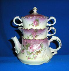 Heavenly Rose stacking teapot, creamer & sugar set / Lefton