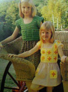 Five 5 Vintage Crocheted Girl's Yoke Patterns by MAMASPATTERNS