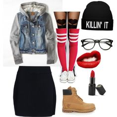 Cute chic rebel denim jacket, black skirt, black tights with thigh high socks layered over, converse or timberland boots
