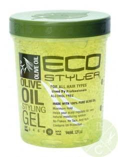 Eco Styler Olive Oil Styling Gel Maximum Hold.  This is one of the two gels are household lives by.