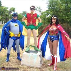 Wonder Woman, Batman and Robin homemade Halloween costumes