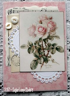 Shabby Vintage Roses I HANDMADE  Collage Greeting Card