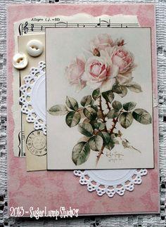Shabby Vintage Roses I HANDMADE  Collage Greeting Card