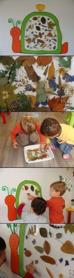 Nature snail craft using contact paper. Autumn Crafts, Nature Crafts, Spring Crafts, Fall Preschool, Preschool Crafts, Preschool Learning, Autumn Activities, Activities For Kids, Projects For Kids