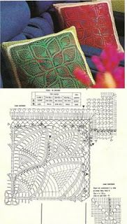 Only crochet patterns and designs: cushions schemes Crochet Cushion Cover, Crochet Cushions, Crochet Pillow, Crochet Diy, Filet Crochet, Crochet Doilies, Crochet Diagram, Crochet Patterns, Chair Pillow