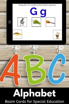 These activities use real photos and are great for Autism, Special Ed, Occupational Therapy, Speech Therapy, ESL. They are great for online learning and teletherapy. #alphabet #boomcards Alphabet Activities, Book Activities, Occupational Therapy, Speech Therapy, Learning Centers, Fun Learning, G Words, Classroom Management Tips, Kindergarten Curriculum