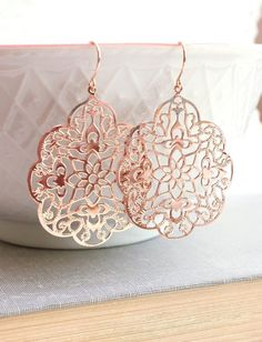 Rose Gold Earrings Lace Filigree Earrings Modern Large Dangle Pink Gold Spanish Style Boho Chic Rose Gold Bridal Jewelry Bridesmaids Gift