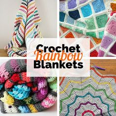 Crochet rainbow blankets: 6 free crochet patterns | Happy in Red