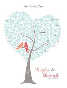 Wedding Tree Guest Book Alternative Poster, Personalized Wedding Tree Print with Love Birds, Wedding Tree Guest Book, Guest Book Tree, Tree Wedding, Diy Wedding, Wedding Gifts, Wedding Ideas, Wedding Stuff, Thumbprint Tree, Fingerprint Tree