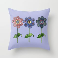 Blue Floral Embroidery Throw Pillow - A watercolor painting of three cheerful flowers standing in a row, with a digitally added background. Flowers, nature, floral, nature, gardens, landscape.