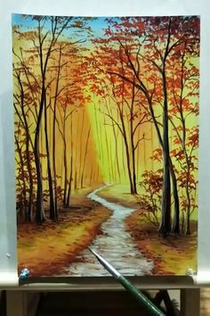 Acrylic Painting Trees, Canvas Painting Tutorials, Forest Painting, Diy Canvas Art, Forest Art, Canvas Artwork, Tree Trunk Painting, Road Painting, Forest Drawing