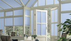 Narrow Pleated Consevatory Blinds Light Blue Style