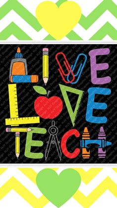 Teacher, Live Love Teach, Glue, Pencil, Paper Clips, Ruler, Apple, Crayons, Digital, Download, TShirt, Cut File, SVG, Iron on, Transfer #ad