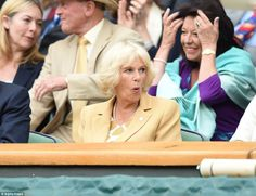 Passionate: Avid tennis fan Camilla looked animated as she reacted to Murray's powerful play