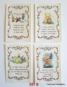 Winnie the pooh quotes, prints for framing, 2 different sets, baby shower, Winnie The Pooh Nursery, Vintage Winnie The Pooh, Winnie The Pooh Birthday, Winnie The Pooh Quotes, Baby Quotes, Baby Birthday, Birthday Ideas, Nephew Birthday Quotes, Birthday Wishes For Friend