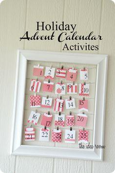 Holiday Advent Activity Calendar with a list of ideas.  via Amy Huntley (The Idea Room)