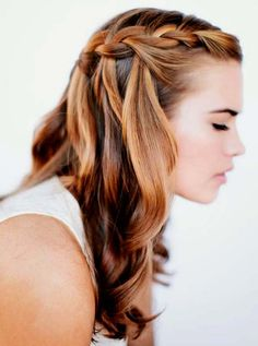 A waterfall braid with softly curled ends is elegant, but still low-maintenance.