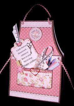 CRAFTERS APRON LADIES Tent Card Mini Kit on Craftsuprint designed by Janet Briggs - made by Dianne Jackson - I printed onto 250 gram smooth card and made up following the simple instructions. The verse on the tag that comes with this kit makes it limited to who you can send it to so I printed my own verse on the blank tag that reads (Crafts forever, Housework.....whenever. Born to crop, not to mop. Happy Crafting) I added a pair of scissors charm to the tag and ric-rac braid threaded through…