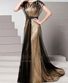 Sparkle 2015 una línea de manga corta negro oro Tulle Squins con cuentas elegante largo vestido de noche vestido vestido de baile vestido en Vestidos de Noche de Bodas y Eventos en AliExpress.com | Alibaba Group