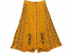 BOHO HIPPIE GYPSY MAXI LONG SKIRT YELLOW EMBROIDERED DESIGNER RAYON SKIRTS 35""