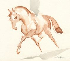 Horse Art Painting Trotting Dressage Horse by annarockwell on Etsy, $75.00