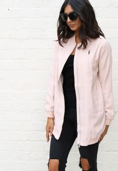 MA1 Detail Longline Cuffed Bomber Jacket in Light Pink - One Nation Clothing…