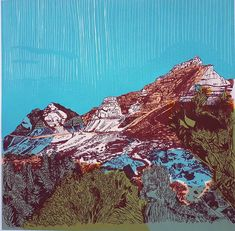 Buy View of Table Mountain, a signed limited edition silkscreen on paper print size 50 x 50 cm unframed, by Cape Town artist Kit Dorje. Table Mountain, Mountain Art, Mystical Animals, South African Artists, Art Prints For Sale, Silk Screen Printing, Affordable Art, Beautiful Landscapes, Fine Art Paper