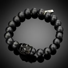 Lazaro. Need. - MEDIUM BLACK ONYX & JET SKULL MEN'S BRACELET