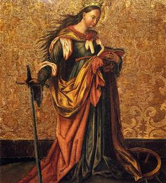 St. Catherine of Alexandria (painting by Konrad Witz) a sort of Narnia look to it - for a collage?