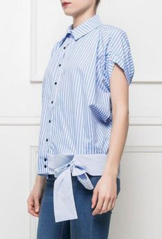 chemise blouse rayé noeud Couture, Peplum, Blouse, Tops, Women, Fashion, Shirt Blouses, Trendy Outfits, Hair Bow