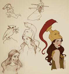Athena / Also found at: http://ninidu.deviantart.com/art/Athena-doodles-436854150