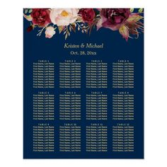 Seating charts are placed on display at the entrance to the reception space. The charts correspond to the table cards and place cards so that guests may find their seats without confusion. The charts should be designed to reflect the theme of the reception.