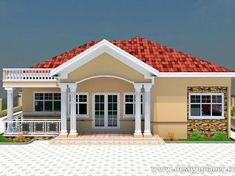 Simple Bungalow House Designs, 4 Bedroom House Designs, Three Bedroom House Plan, Modern Bungalow House, Small House Exteriors, Small House Design, House Plans Mansion, My House Plans, Modern House Plans