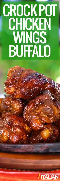 Crock Pot chicken wings have a spicy Buffalo sauce for a fantastic snack or light meal. Make this slow cooker recipe for game day parties! #BuffaloChickenWings #SlowCooker #CrockPot #Appetizer