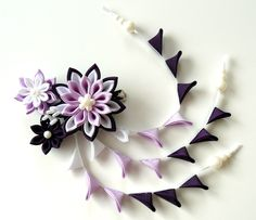 Kanzashi fabric flowers bridal hair clip with falls. Orchid, plum and white.. $28.00, via Etsy.
