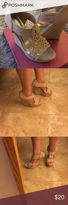 Pink Wedges Wedge Heels, New in original box, never worn Bamboo Shoes Espadrilles