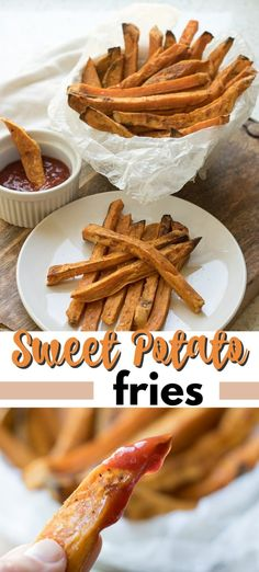 These savory, healthier for you fries have less oil than traditional deep fried sweet potato fries! #sweetpotato #sweetpotatofries #frenchfries #healthy #bakedsweetpotatofries #healthysweetpotatofries #amandascookin