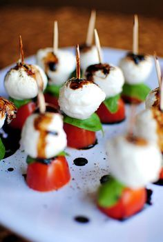 You need to make this Mini Caprese Bites With Balsamic Drizzle appetizer recipe for your summer pool parties.