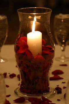 Hurricane Centerpiece with pillar candle and rose petals : Cakes, Centerpieces and Headtables : Showcase Hurricane Centerpiece, Candle Centerpieces, Wedding Centerpieces, Wedding Decorations, Centerpiece Ideas, Graduation Centerpiece, Simple Centerpieces, Centrepieces, Red Wedding