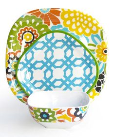Take a look at this Confetti Button Blooms 12-Piece Dinnerware Set by Jay Import