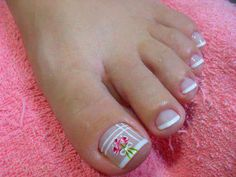 Unhas Decoradas BR Unhas Decoradas para os Pés Francesinha e Flor Pedicure Nail Art, Pedicure Designs, Toe Nail Designs, Toe Nail Art, Cute Toe Nails, Pretty Nails, Hair And Nails, My Nails, Cherry Blossom Nails