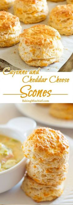 Cayenne and Cheddar Cheese Scones - Warm, buttery cheddar cheese scones with a kick of cayenne. The perfect side for any soup or salad. Recipe includes nutritional information, small-batch and freezer instructions. From http://BakingMischief.com