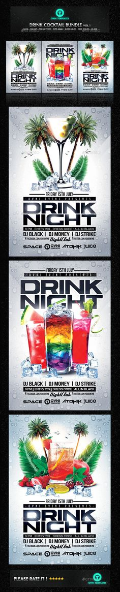 Summer Drink Cocktail Night Flyer Bundle - Clubs & Parties Events