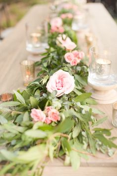 Love this for table decor!!  View the full wedding here: http://thedailywedding.com/2015/11/20/romantic-floral-wedding-rachel-perry/